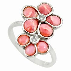 Natural pink opal topaz 925 sterling silver ring jewelry size 7.5 a68248 c15087