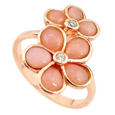 Natural pink opal topaz silver 14k rose gold flower ring size 7.5 a68214 c15085