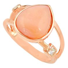 Natural pink opal topaz sterling silver 14k rose gold ring size 7 a68103 c15067