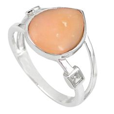 Natural pink opal white topaz 925 sterling silver ring size 7 a59014 c15072