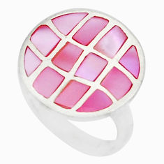 3.89gms natural pink pearl enamel 925 sterling silver ring jewelry size 6 c21959