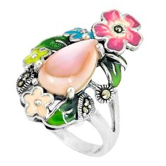 Natural pink pearl marcasite enamel 925 silver flower ring size 5.5 c21520