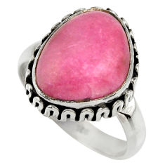 7.51cts natural pink petalite 925 silver solitaire ring jewelry size 7.5 r28445