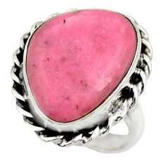 12.41cts natural pink petalite 925 silver solitaire ring jewelry size 7.5 r28452