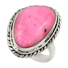 13.55cts natural pink petalite 925 silver solitaire ring jewelry size 7.5 r28480