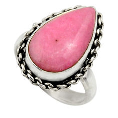 6.49cts natural pink petalite 925 silver solitaire ring jewelry size 7 r28446