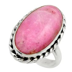 11.96cts natural pink petalite 925 silver solitaire ring jewelry size 7 r28476