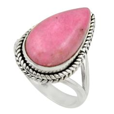 11.92cts natural pink petalite 925 silver solitaire ring jewelry size 8 r28463