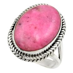 14.40cts natural pink petalite 925 silver solitaire ring jewelry size 9 r28475