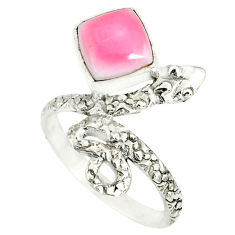 3.50cts natural pink queen conch shell 925 silver snake ring size 7.5 r78605