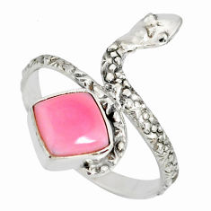 3.48cts natural pink queen conch shell 925 silver snake ring size 9.5 r78666