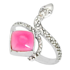 3.26cts natural pink queen conch shell 925 silver snake ring size 8.5 r78681
