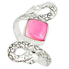 3.14cts natural pink queen conch shell 925 silver snake ring size 8.5 r78721