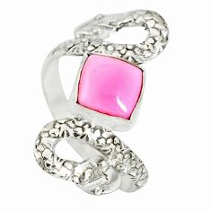 3.19cts natural pink queen conch shell 925 silver snake ring size 8.5 r78723