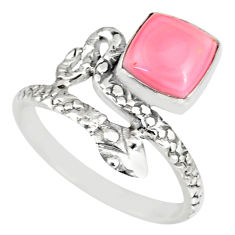3.26cts natural pink queen conch shell 925 silver snake ring size 8.5 r82541