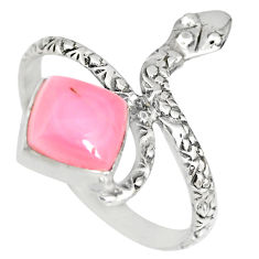3.29cts natural pink queen conch shell 925 silver snake ring size 9.5 r82542