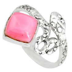 3.13cts natural pink queen conch shell 925 silver snake ring size 7.5 r82544