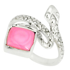 3.29cts natural pink queen conch shell 925 silver snake ring size 6 r78624