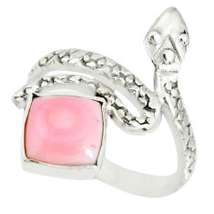 3.44cts natural pink queen conch shell 925 silver snake ring size 7 r78646