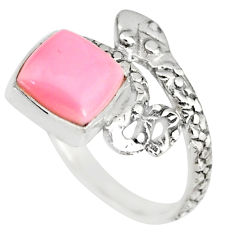 3.26cts natural pink queen conch shell 925 silver snake ring size 7 r82547