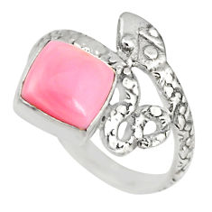 3.12cts natural pink queen conch shell 925 silver snake ring size 7 r82548
