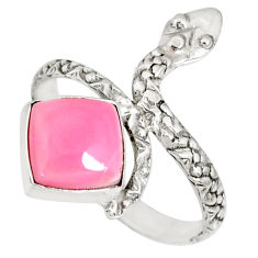 3.26cts natural pink queen conch shell 925 silver snake ring size 8 r78682