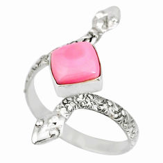 3.10cts natural pink queen conch shell 925 silver snake ring size 9 r78705