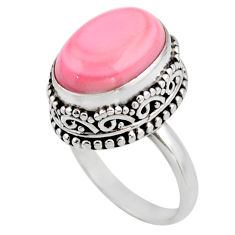 7.12cts natural pink queen conch shell 925 silver solitaire ring size 6.5 r53707