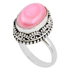 6.89cts natural pink queen conch shell 925 silver solitaire ring size 7.5 r53710