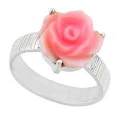 5.23cts natural pink queen conch shell 925 silver solitaire ring size 7 r49775