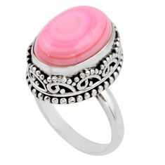 6.48cts natural pink queen conch shell 925 silver solitaire ring size 7 r53709