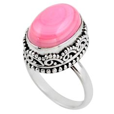 7.13cts natural pink queen conch shell 925 silver solitaire ring size 7 r53711