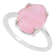 5.07cts natural pink raw morganite rough 925 sterling silver ring size 7 r88944