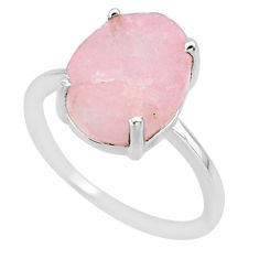 5.13cts natural pink raw morganite rough 925 sterling silver ring size 7 r88957