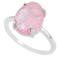 4.79cts natural pink raw morganite rough 925 sterling silver ring size 8 r88942