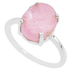 5.56cts natural pink raw morganite rough 925 sterling silver ring size 8 r88950