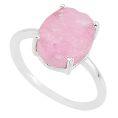 5.50cts natural pink raw morganite rough 925 sterling silver ring size 8 r88960