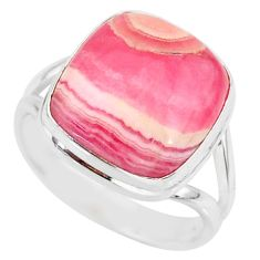 12.69cts natural pink rhodochrosite (argentina) 925 silver ring size 8.5 r88772