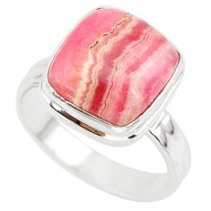5.53cts natural pink rhodochrosite (argentina) 925 silver ring size 6 r88770