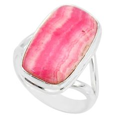 9.89cts natural pink rhodochrosite (argentina) 925 silver ring size 7 r88783