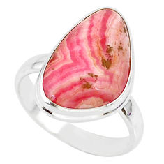 11.81cts natural pink rhodochrosite (argentina) 925 silver ring size 9 r88779