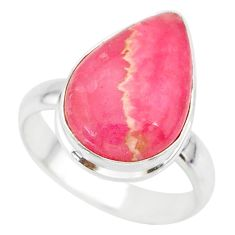 9.16cts natural pink rhodochrosite inca rose 925 silver ring size 7.5 r88756