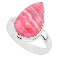 9.21cts natural pink rhodochrosite inca rose 925 silver ring size 9.5 r88781