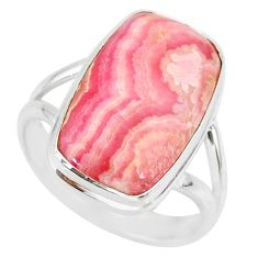 10.25cts natural pink rhodochrosite inca rose 925 silver ring size 8.5 r88796