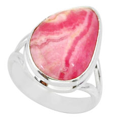 13.60cts natural pink rhodochrosite inca rose 925 silver ring size 6 r88760