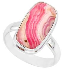 7.63cts natural pink rhodochrosite inca rose 925 silver ring size 6 r88786