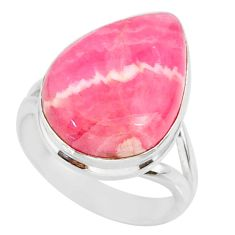 12.22cts natural pink rhodochrosite inca rose 925 silver ring size 7 r88799