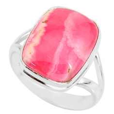 9.68cts natural pink rhodochrosite inca rose 925 silver ring size 8 r88797