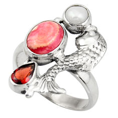 5.95cts natural pink rhodochrosite inca rose silver fish ring size 7.5 d46065