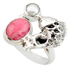 4.38cts natural pink rhodochrosite inca rose silver fish ring size 6.5 d46088
